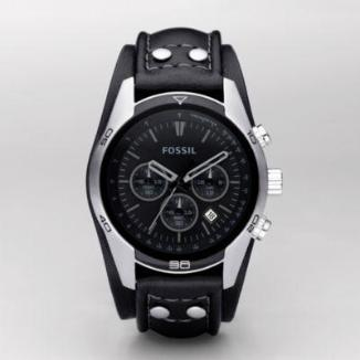 Sat Fossil Sport Cuff Leather Watch Black | Svet Satova